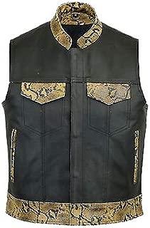 Men's Motorcycle Biker Rider Motorbiker Club Rocker Stylish Lined with Snake Skin Looking Black Cow Hide Leather Vest.