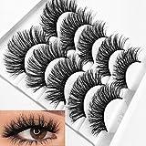3D False Eyelashes Faux Mink Fake Eyelashes Handmade Dramatic Thick Crossed Cluster False Eyelashes Black Nature Fluffy Long Soft Eye lashes (K)