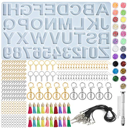 Comius Sharp 328 Pezzi Stampo in Resina con Lettere, Kit di Stampo in Silicone con Alfabeto e Numeri Set di Stampi in Resina Epossidica per Ciondolo Fai-da-Te, Gioielli, Portachiavi, Numero Civico