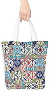 Moroccan Utility Tote Bag Patchwork Pattern from Colorful Moroccan Tiles Traditional Illustration Premium Quality 16.5
