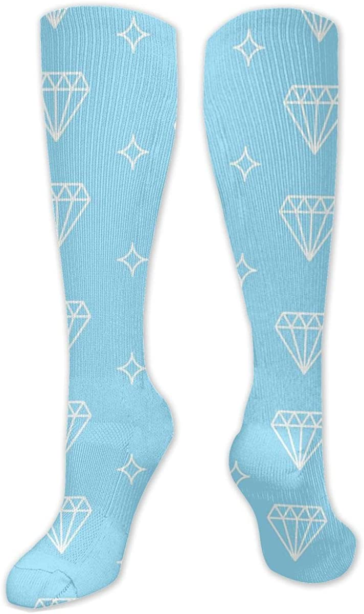 Blue Diamond Knee High Socks Leg Warmer Dresses Long Boot Stockings For Womens Cosplay Daily Wear