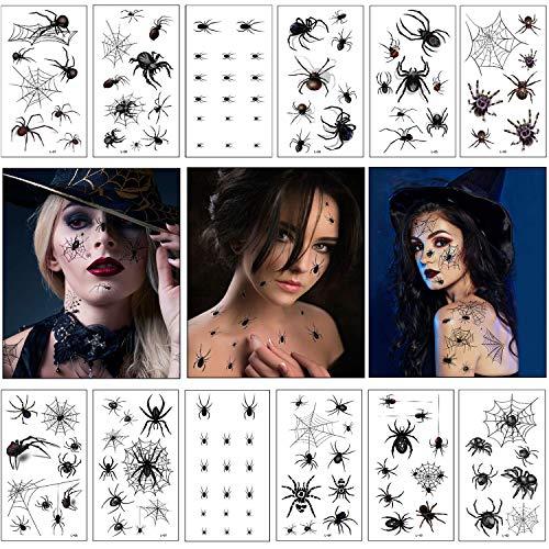 Hook 12 Spinnen Tattoo Gesicht,Spinnentattoos,Halloween Spinnen Tattoo,Spider Tattoo,Halloween Verkleidung Damen,Spinnenkostüm Damen Halloween Tattoos,Tattoocrew,Gesichtstattoo Halloween Zubehör Damen