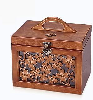 DYHOZZ Wood Pharmaceutical Box Home First Aid Kit Medical Box Family Medicine Drug Storage Box (Size : 19cm×18cm×25cm)
