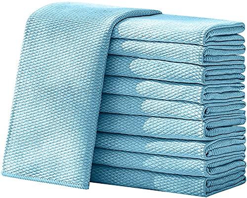 10 Piezas de Limpieza de Microfibra de Escala de Pescado. Toallitas de Limpieza de pulidos 40 × 50 Toallas absorbibles de Agua súper de Trapos.-Blue