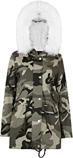 Ladies Camouflage Fur Line Parka Jacket US Size 6-12