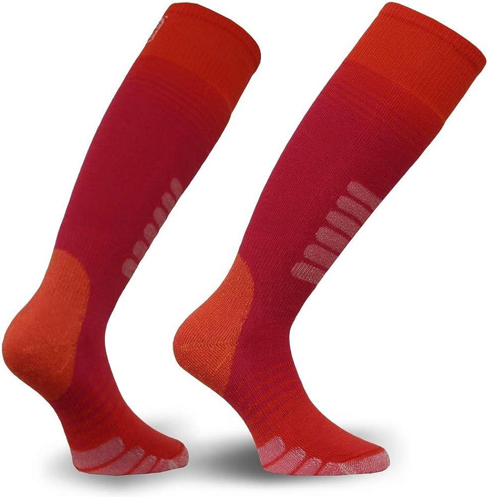 Eurosock Unisex Child Standard Supreme Ski Socks, Hot Pink/Orange, Large