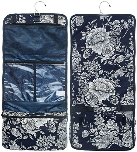 Best Trendy Blue Floral Flower Print Hanging Toiletry Cosmetic Jewelry Makeup Overnight Organizer Travel Bag Case Great Unique Special Gift Idea Top Easter Gifts for Teen Girls Women Sister BFF Nurse