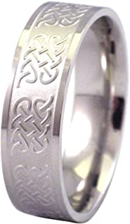Fantasy Forge Jewelry Mens Celtic Ring Stainless Steel Band 7.2mm Size 11-17