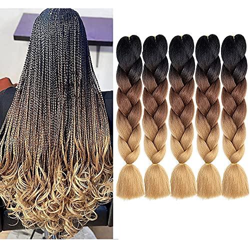 MSBELLE 5 Packs Ombre Braiding Hair Kanekalon Braiding Hair Ombre Crocet Braiding hair Twist Braids Hair for Black Women 24 Inch ombre braiding hair 100g/Pcs