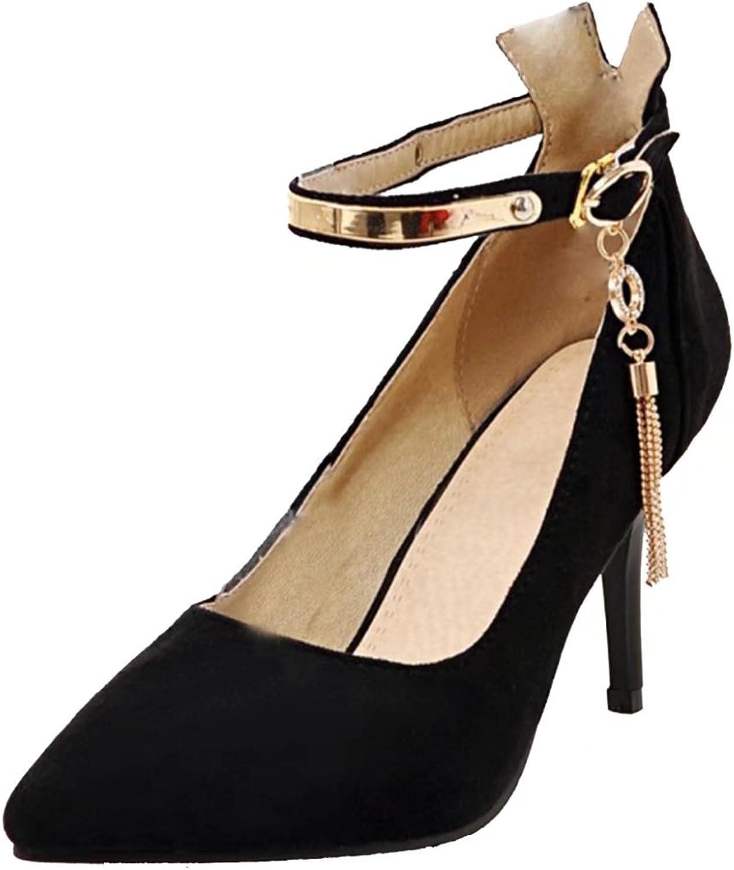 AIYOUMEI Women's Fashion Pointed Toe Rhinestones Buckle Stilettos Spring Autumn Nubuck Pumps shoes