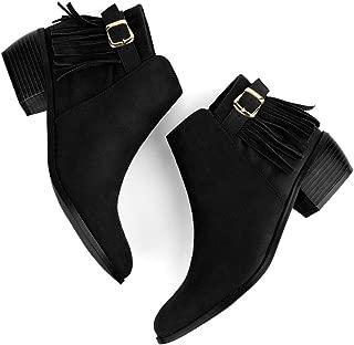 Allegra K Women's Buckle Tassel Low Chunky Heel Ankle Booties
