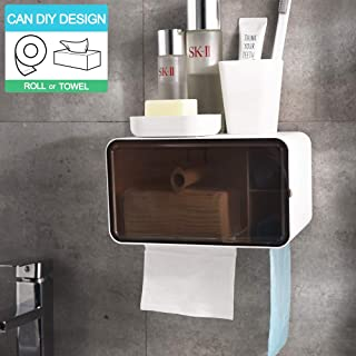 Wowkiki Toilet Paper Holder, Self Adhesive Free-Movable Non-Porous Wall Mounted Medium Storage, Cat Proof, Waterproof, DIY Beautification for Bathroom(Transparent White)
