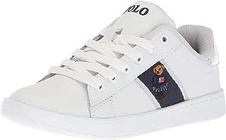 Polo Ralph Lauren Kids Quilton Sneaker, White Leather Silver Striping/Americana Girl Bear ii, M015 M US Little Kid