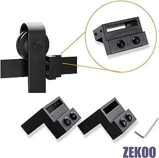 ZEKOO Black Steel Stopper Limit Device for Sliding Barn Door Hardware Track Roller Stop Kit Accessories