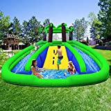 Clearance HuaKastro Inflatable Water Slide Park with Blower, Bouncy Castle with 2 Long Slides & Large Splash Pool & Climbing Wall, Wet & Dry Use Easy Setup Indoor Outdoor Play Center for Kids Party