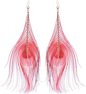 Featured Clothing Accessories Pretty Fashion Red feather Long tassel earrings fashion banquet tourism Street beat Bead design Female More Style