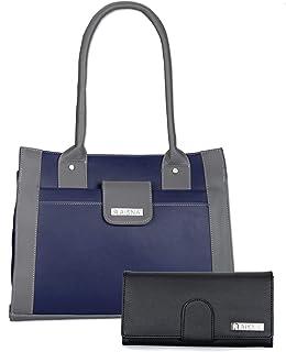 Aisna Women's Combo Handbag & Clutch(Blue,Grey)