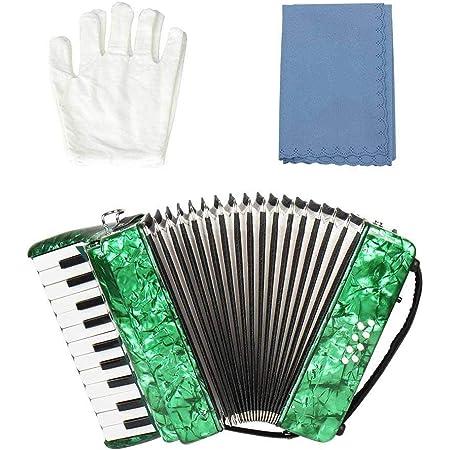 Famus Accordéon Basse, 22 Touches Magnifiques Exquis Anti-Corrosion Durable Flexible pour Les étudiants débutants Piano Accordéon(#2)