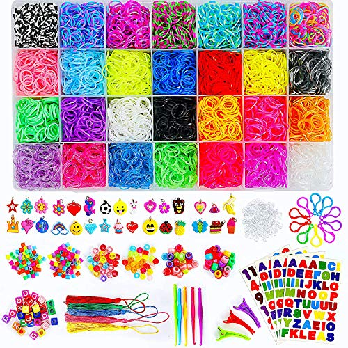 11910 Loom Rubber Bands Bracelet Kit, Big Giftable Case with Premium Quality Accessories, 28 Unique Bright Colour Bands, Refill Kit for Girls & Boys by Momo's Den
