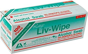 Liv-Wipe Large Alcohol Wipes, 65 x 56mm, 70% Isopr
