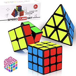 Speed Cube Set,Vdealen Magic Cube Set of 2x2x2 3x3x3 Pyramid Speed Cube Set of Puzzle Toys for Children and Adult Challenge