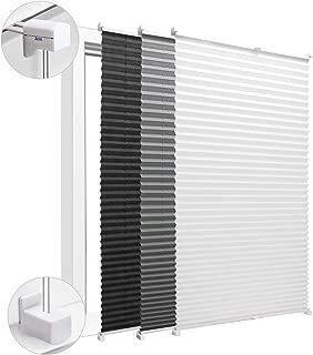 KINLO Persiana plisada fácil de instalar sin perforar 100x130 cm Persiana plisada con recorte blanco Adecuado para puertas y ventanas.