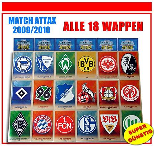 Unbekannt Match Attax 2009/2010 Topps - Fußball Bundesliga - Wappen Vereinslogo alle 18 Verschiedene Vereinslogos