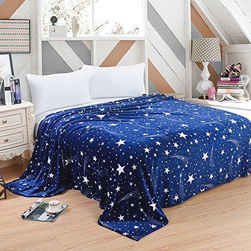 aihihe Sherpa Fleece Flannel Blanket Throw Plush Fuzzy Soft Microfiber Velvet Bed As Bedspread/Coverlet/Bed Sofa Cover Twin Size(#01 Starry Sky,27×40 inch)