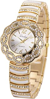 Women Lady Wrist Watch Gold Stainless Steel Crystal SIBOSUN Quartz Dress Fashion Bracelet