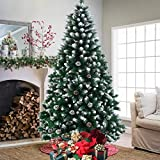 vantiorango 6FT Artificial Christmas Tree with 1000 Tips, Flocked Snow Xmas Trees with Pine Cones Decoration, for Indoor Festival Holiday New Year Decor