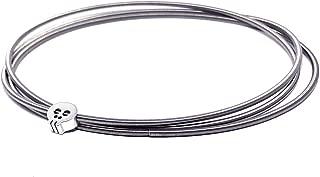 Dia Spring Charm Bracelets – Set of 3 Simple, Inspirational, Boho, Minimalist Bracelets with Skull Charm