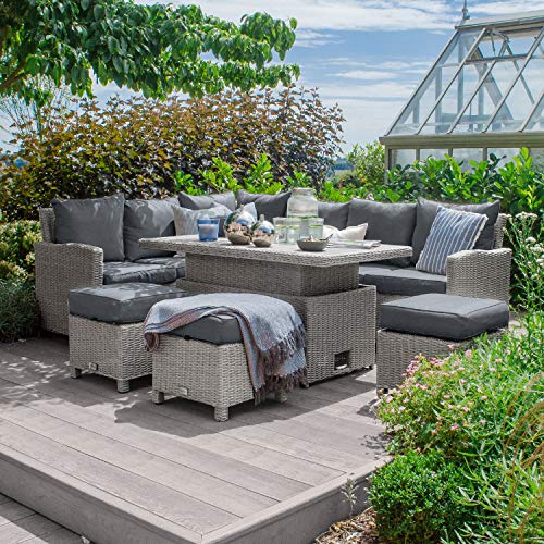 Nova Outdoor Living - Left Hand Ciara Outdoor Rattan Corner Sofa Dining Set with Rising Polywood Table - Half Round White Wash Weave