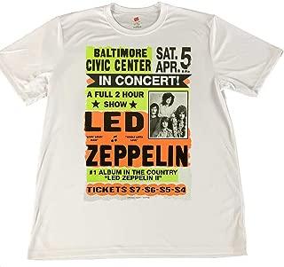 1970's Led Zepplin Concert Poster Wicking Material T-Shirt White
