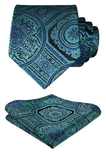 HISDERN Paisley Floral Wedding Tie Handkerchief Woven Classic Men's Necktie & Pocket Square Set Aqua & Green