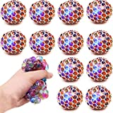 12 PCS Mesh Squishy Balls,LED Grape Squeeze Balls Squishy Toys Anti-Anxiety BulkToys,Hand Exercise Balls , Relieve Pressure Balls Sensory Fidget Toys,Stress Relief Ball for Girls, Boys and Adults