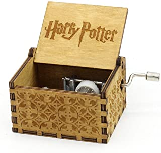 Harry Potter Music Box Hand Crank Musical Box Carved Wooden,Play The Thame Song of Harry Potter,Brown