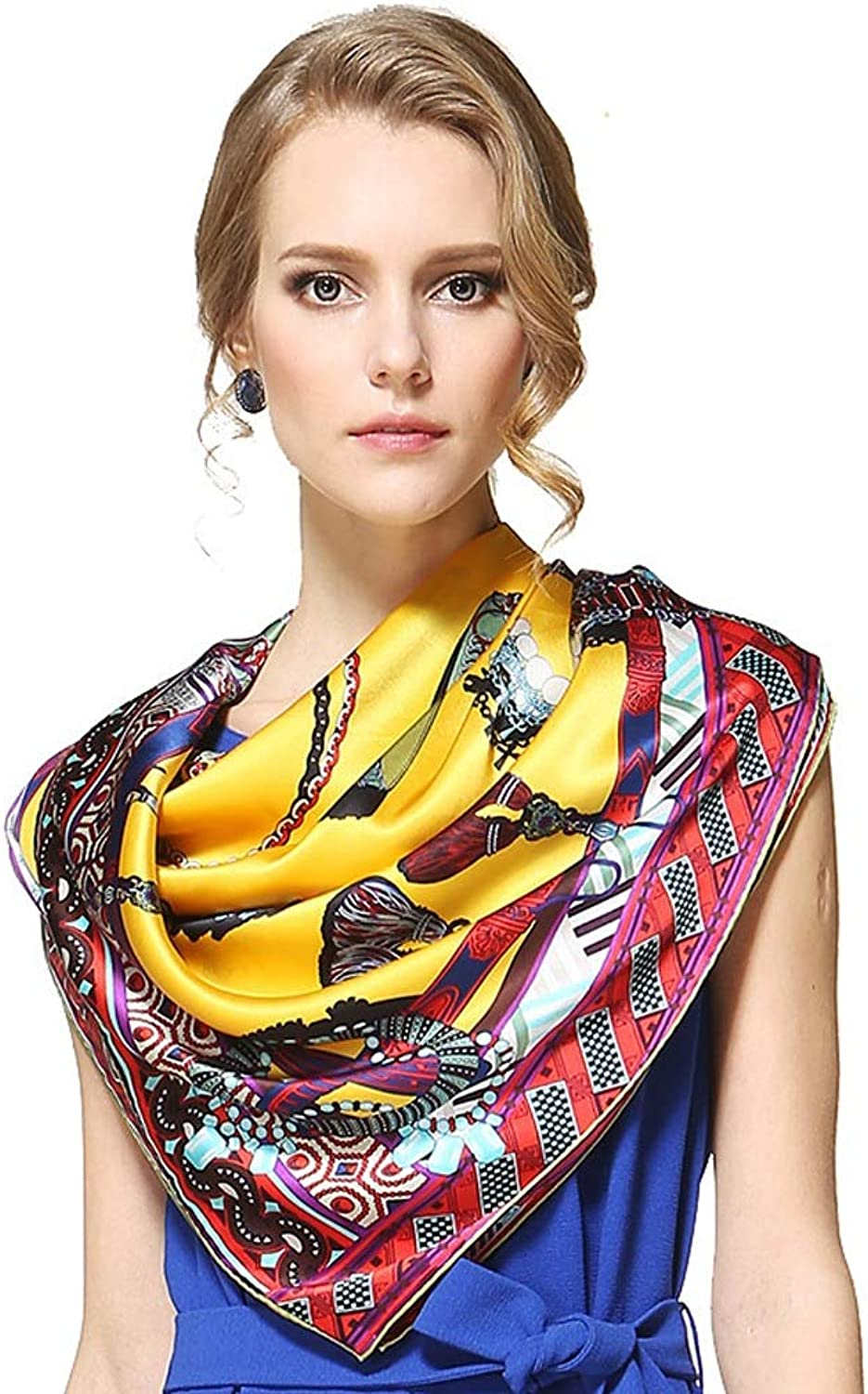 JUN Luxury Silk Scarf for Woman Large Square Scarf Sun Predection Air Conditioner Shawl 110  110cm (color   Yellow)