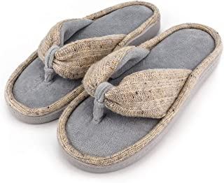 FamiPort Comfy Terry Thong Flip Flops House Slippers Memory Foam Spa Indoor Shoes with Non-Slip Sole for Women & Men Outdoors