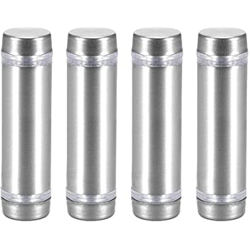 uxcell Glass Standoff Double Head Stainless Steel Standoff Holder 12mm X 134mm 4 Pcs