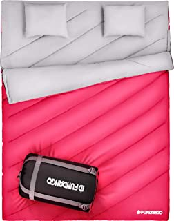 FUNDANGO Sleeping Bag Queen Size XL Double Sleeping Bag for Camping, Hiking, Traveling,2 Person Sleeping Bag with 2 Pillows and Compression Bag