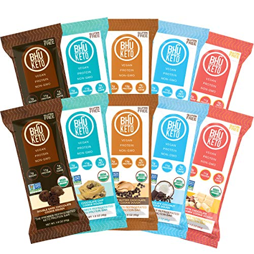 BHU Keto Bars - Low Net Carbs, Low Sugar - Organic Refrigerated Snacks made with Clean, Gluten Free Ingredients - 10 pack (Variety of Cookie Dough Flavors)