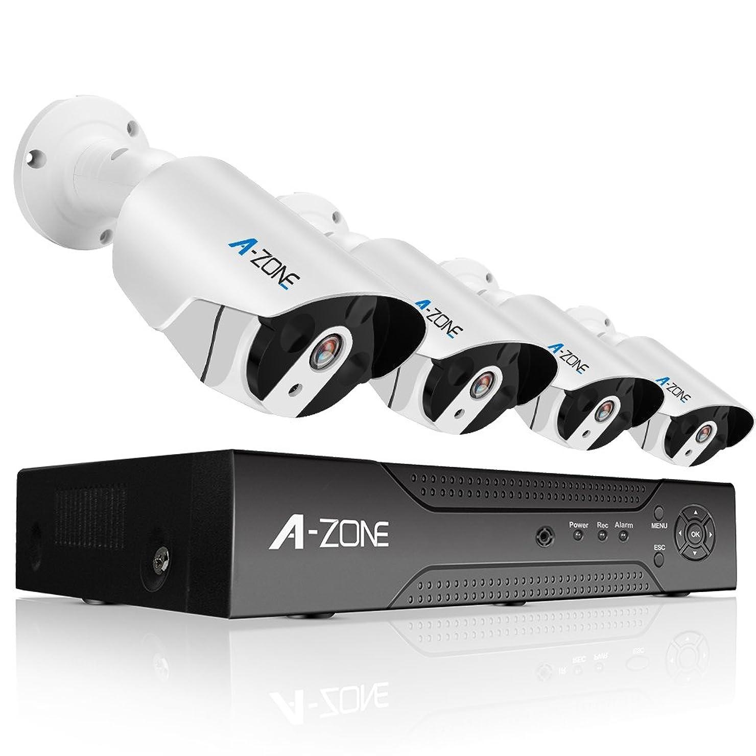 大胆なホイップ集団的A-ZONE 400万画素タイプ POE給電カメラ 防犯カメラキット ネットワークカメラ hddレコーダー 暗視撮影 cctvセキュリティカメラシステム 監視カメラ ナイトビジョン 防水カメラ 動体検知録画(2000GB内蔵) 4ch ハイビョン HD NVRキット 屋内/屋外 クイックリモートアクセス 無料アプリ 遠隔監視対応 (2TB HDD 付き)