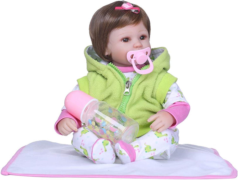 Danigrefinb 15.75 Inch Soft Body Baby Doll, Handmade Lifelike Newborn Baby Girl Imitation Vinyl Silicone Toy Reborn Doll