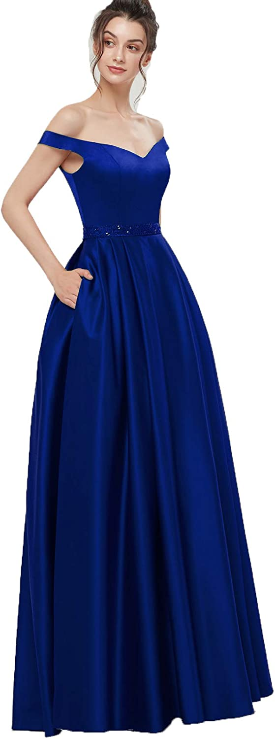 AnnaBride Women's Long OffShoudler Beads Formal Prom Party Dresses with Pockets Evening Celebrity Party Gowns Royal bluee 12