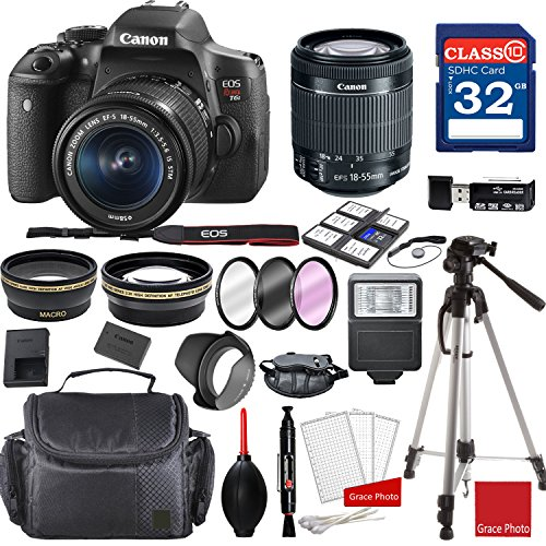 Canon EOS Rebel T6i DSLR Camera w/EF-S 18-55mm f/3.5-5.6 is STM Lens + Professional Accessory Bundle