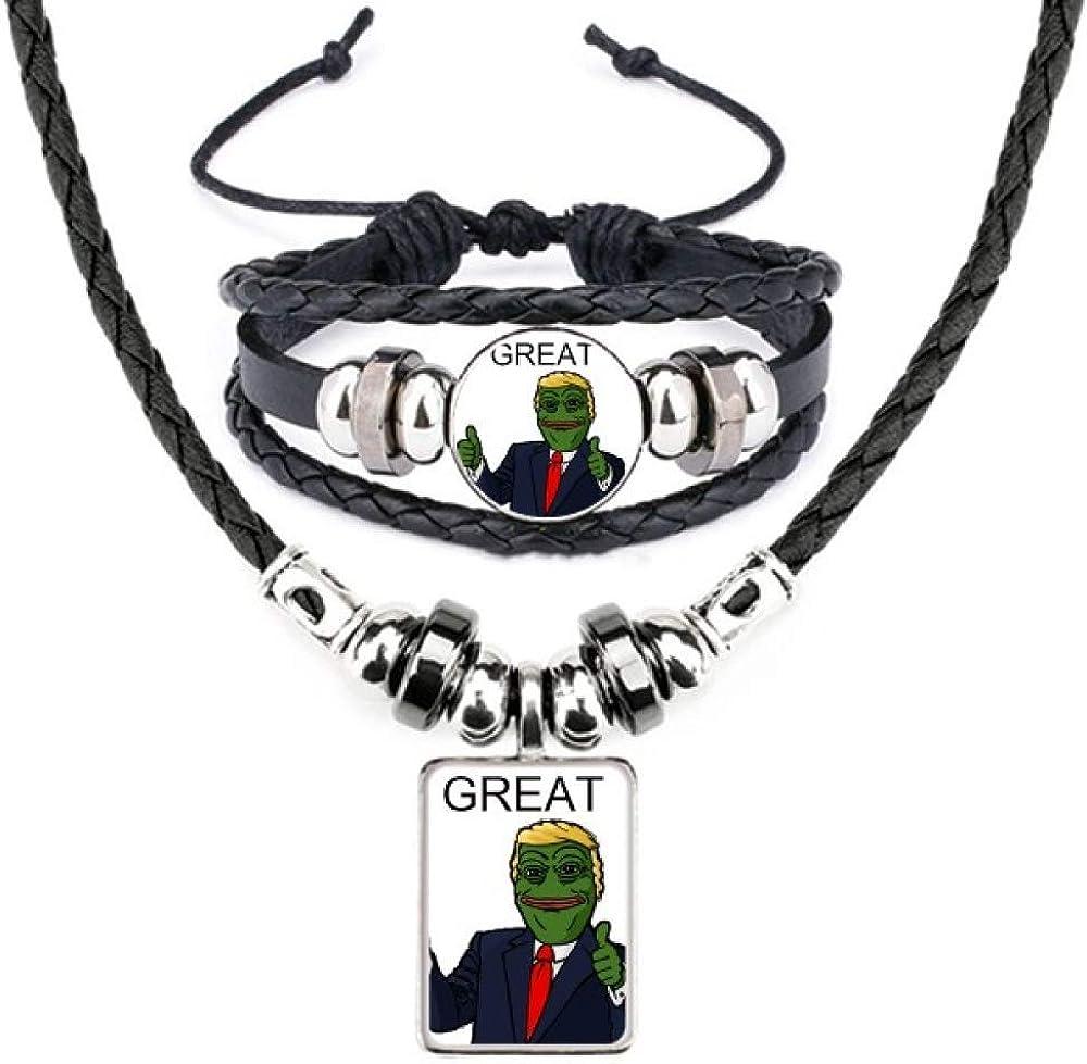 America President Sad Frog Funny Image Leather Necklace Bracelet Jewelry Set