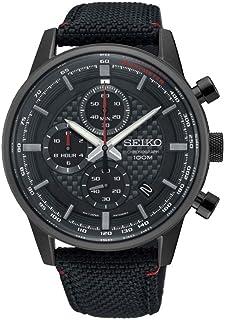 ساعة Seiko رجالي 43.9 مم سوداء من القماش بسوار من التيتانيوم Hardlex Crystal Quartz تناظرية SSB315P1