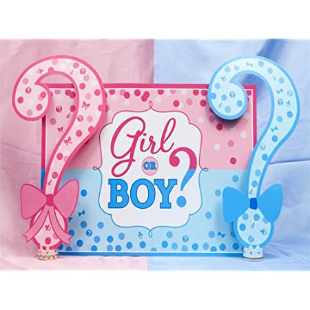 Gender Reveal 8x6 FT Vinyl Photography Backdrop,Girls Baby Shower Family New Member Style Soft Artsy Sketch Print Background for Baby Birthday Party Wedding Studio Props Photography