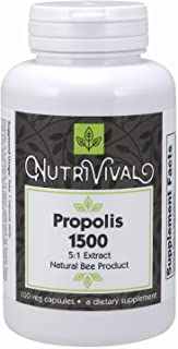 Nutrivival Propolis 1500 mg 5:1 Concentrate Natural Bee Product 100 Vegetarian Capsules