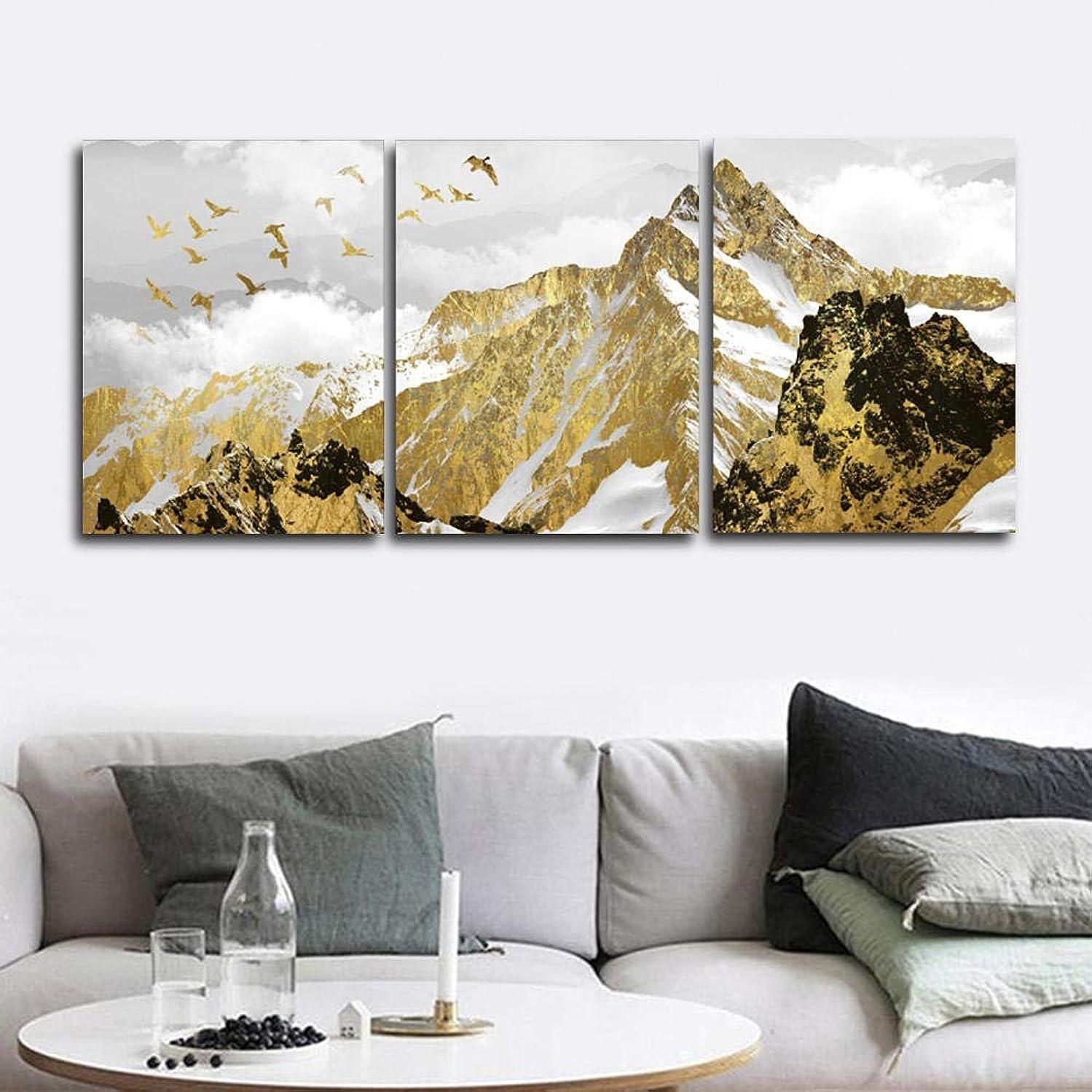 リブテーブルを設定するブラウザ金山の壁画ポスター印刷キャンバス絵画リビングルーム装飾絵画家の装飾40x60cmx3(フレームレス)